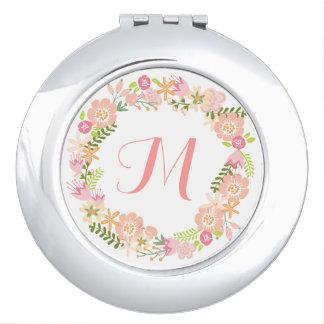 Acuerdo floral del espejo del monograma de la espejos de viaje