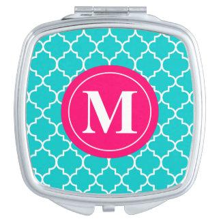 Acuerdo rosado azul del monograma de Quatrefoil Espejo Compacto