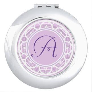 Acuerdo rosado de encaje del monograma de la flor espejos maquillaje