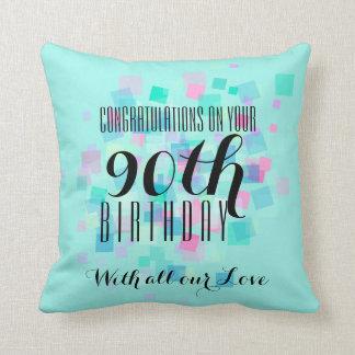 Acuñe la almohada de encargo 3 del 90.o cumpleaños