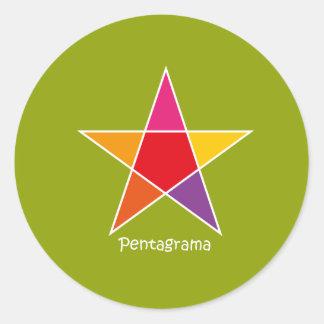 Adhesivo Pentagrama Pegatina Redonda