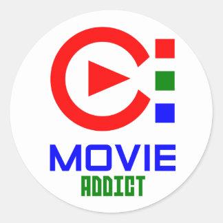 adicto a la película pegatina redonda
