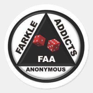 Adictos a Farkle anónimos (versión 2010) Pegatina Redonda