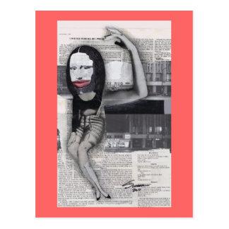 Adieté durante mi collage de Mona Lisa del Postal