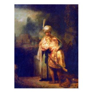 Adiós de Davids con Jonatán de Rembrandt Postal