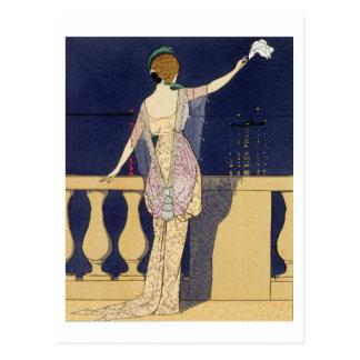Adiós en la noche, diseño para un vestido de noche tarjeta postal