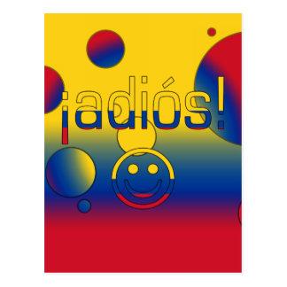 ¡¡Adiós! La bandera de Colombia colorea arte pop Postal