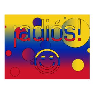 ¡¡Adiós! La bandera de Venezuela colorea arte pop Postal