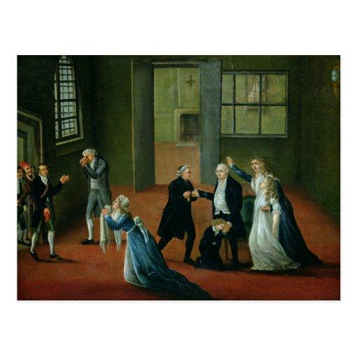 Adiós que hace una oferta de Louis XVI a su famili Postales