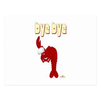 Adiós rojo del cocinero de la langosta tarjeta postal