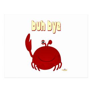 Adiós rojo sonriente de Buh del cangrejo Tarjetas Postales