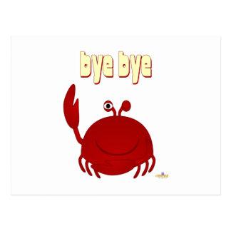 Adiós rojo sonriente del cangrejo postal