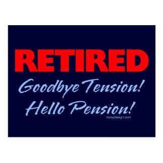 Adiós tensión jubilada (azul marino) postal