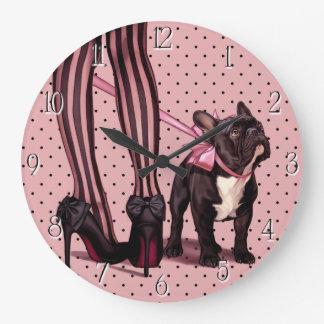 Adjunta a mi Bulldog Francés Reloj Redondo Grande