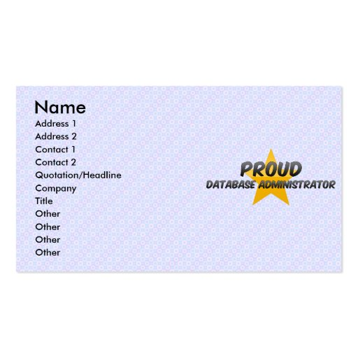 Administrador de base de datos orgulloso tarjetas de visita