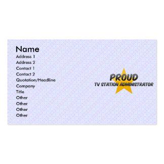 Administrador orgulloso del canal de televisión plantilla de tarjeta de negocio
