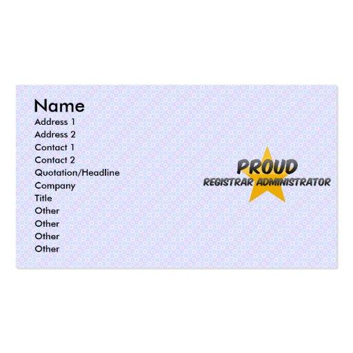Administrador orgulloso del secretario tarjetas de visita
