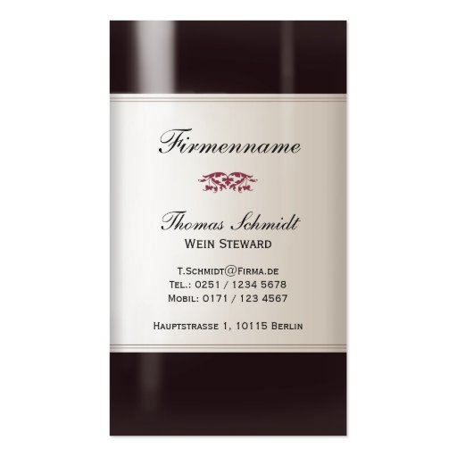 Administrador Visitenkarte de Wein Plantilla De Tarjeta De Negocio