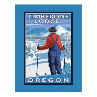 Admiración del esquiador - casa de campo del postal