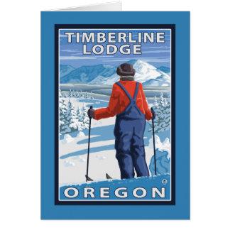 Admiración del esquiador - casa de campo del tarjeta de felicitación