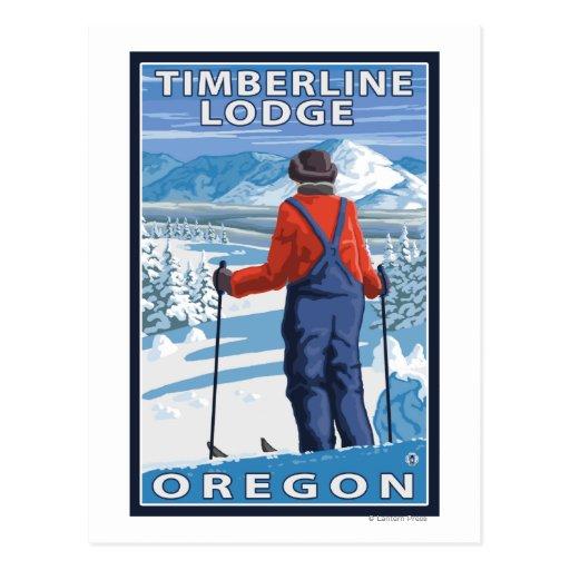 Admiración del esquiador - casa de campo del postales