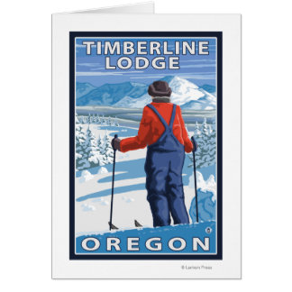 Admiración del esquiador - casa de campo del Timbe Tarjetón