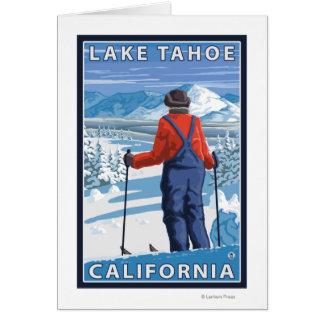 Admiración del esquiador - el lago Tahoe Californ Felicitacion