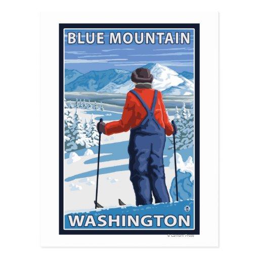 Admiración del esquiador - montaña azul, tarjeta postal