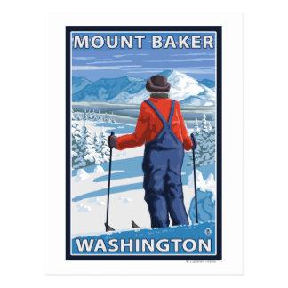 Admiración del esquiador - panadero del soporte W Postales