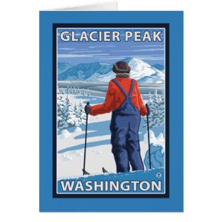 Admiración del esquiador - pico del glaciar, tarjeta de felicitación
