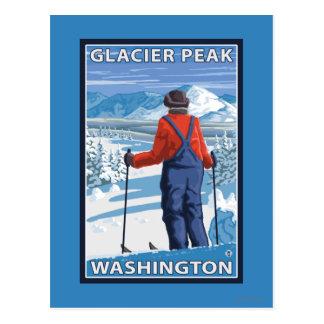 Admiración del esquiador - pico del glaciar, postales