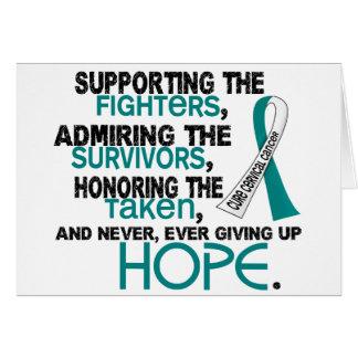 Admiración favorable honrando al cáncer de cuello tarjetas