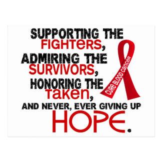 Admiración favorable honrando al cáncer de sangre tarjetas postales