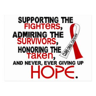 Admiración favorable honrando al cáncer oral 3,2 postal