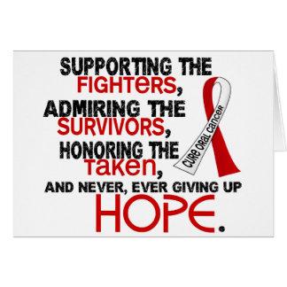 Admiración favorable honrando al cáncer oral 3,2 tarjeta de felicitación