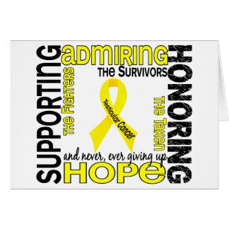 Admiración favorable honrando al cáncer testicular felicitación