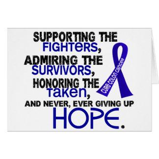 Admiración favorable honrando el cáncer de colon 3 tarjeta de felicitación