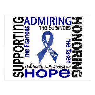 Admiración favorable honrando el cáncer de colon 9 postal