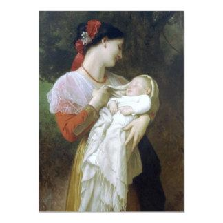Admiración maternal de Guillermo Adolfo Bouguereau Invitación 11,4 X 15,8 Cm