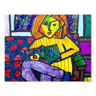 Adolescente en el sofá por Piliero Invitación 10,8 X 13,9 Cm