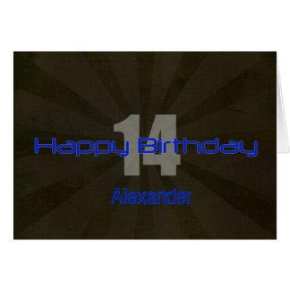Adolescente negro y gris del 14to cumpleaños feliz tarjeta