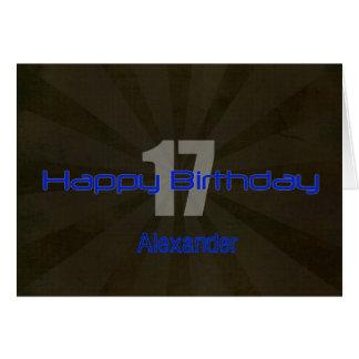 Adolescente negro y gris del 17mo cumpleaños feliz felicitacion