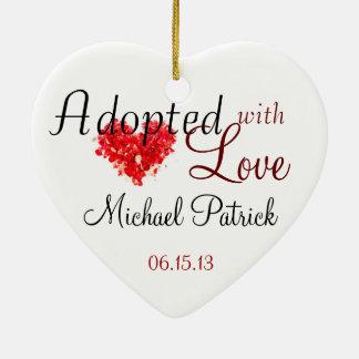 Adoptado con el ornamento de la adopción del amor