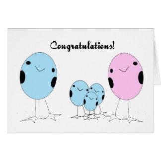 Adoptado tres enhorabuena de los muchachos tarjeta de felicitación