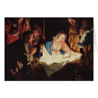 Adoración de la tarjeta de Navidad de los pastores