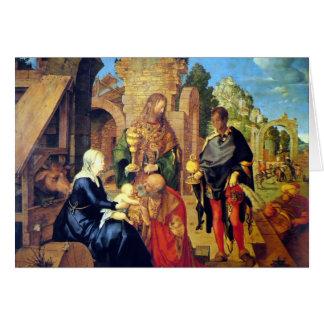 Adoración de la tarjeta de Navidad de unos de los