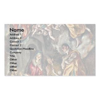 Adoración de los pastores por el EL de Greco Plantilla De Tarjeta De Negocio