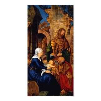 Adoración de unos de los reyes magos de Albrecht D Tarjeta Fotografica