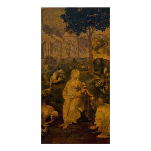 Adoración de unos de los reyes magos de Leonardo d Plantilla Para Tarjeta De Foto