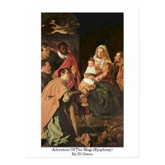Adoración de unos de los reyes magos (epifanía) postal